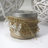 Μπομπονιέρα Γάμου κουτάκι δεμένο με λινάτσα και δαντέλα - Wedding favour tied with burlap and lace